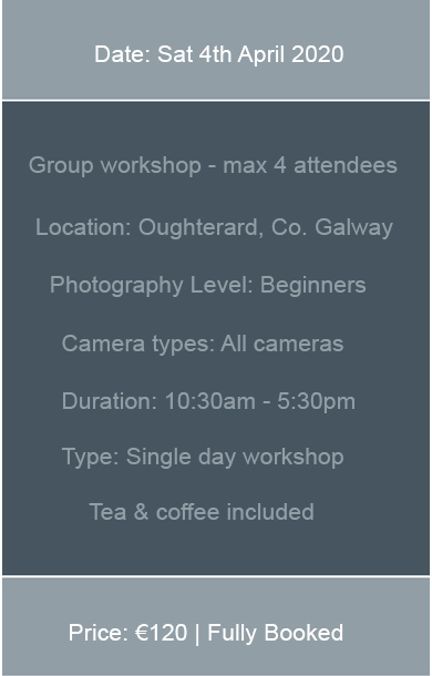 Upcoming dates for photography workshops in Galway