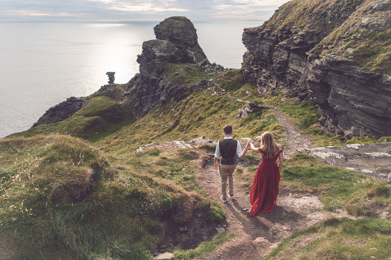 Cliffs of moher engagement photography for destination wedding couple