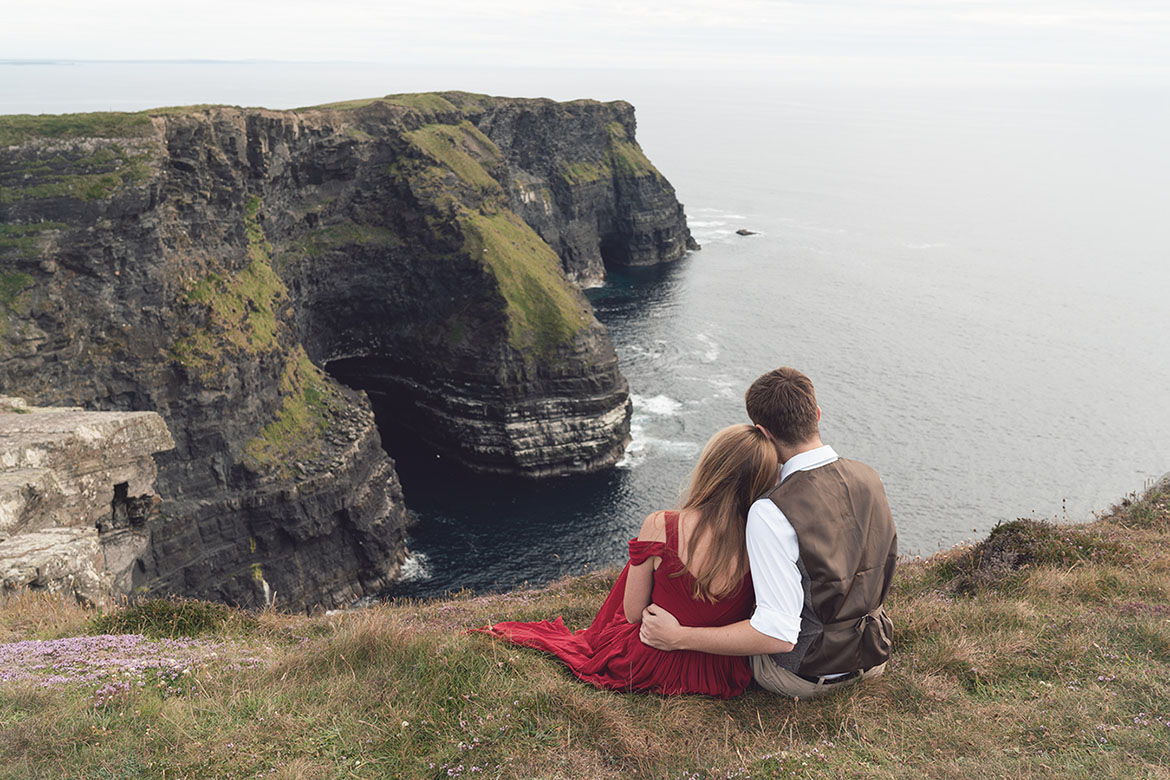 A couple engagement photography session at the Irish Cliffs of Moher