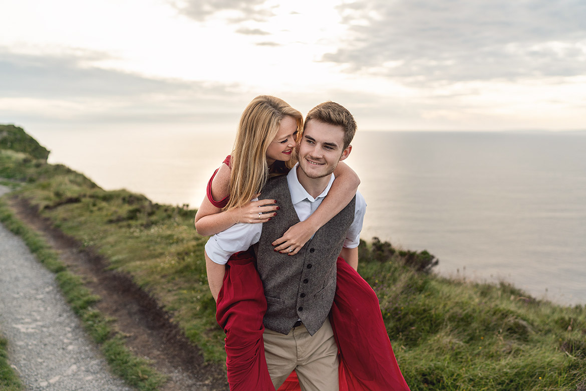 Fun engagement shoot at the cliffs of moher