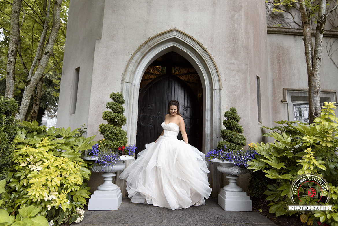 Bride portrait at the door close to the Brian Boru hall at Dromoland Castle