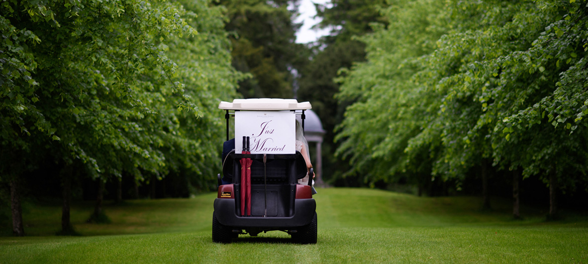 just married the golf buggy at dromoland castle