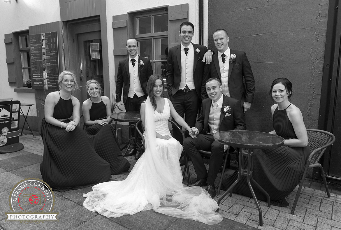 galway wedding quay street bridal party photo