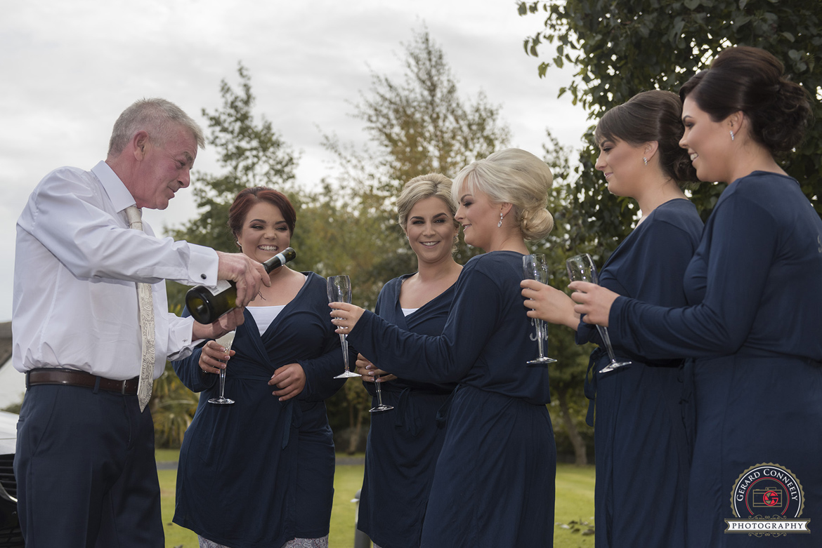 galway wedding photographer bridesmaids champagne morning of wedding