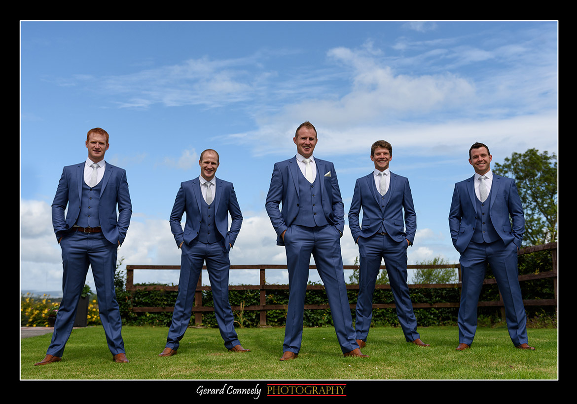 5 Groomsmen Wedding Day in garden Galway by Gerard Conneely Photography