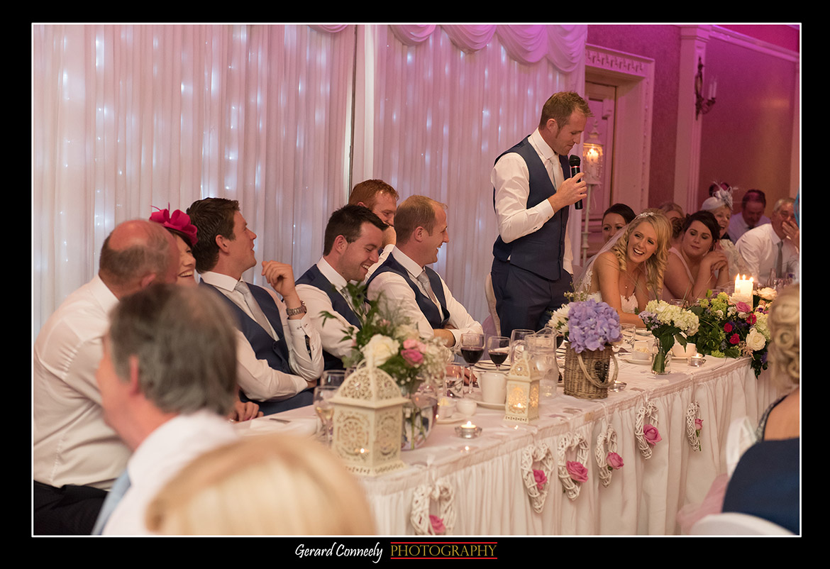 Wedding Reception Speeches at the Lady gregory hotel Gort