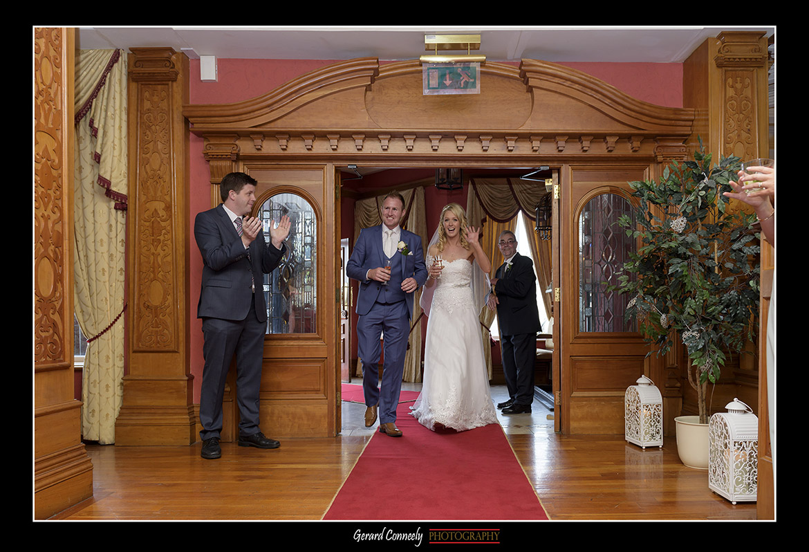 bride and groom arrive at the lady gregory hotel gort