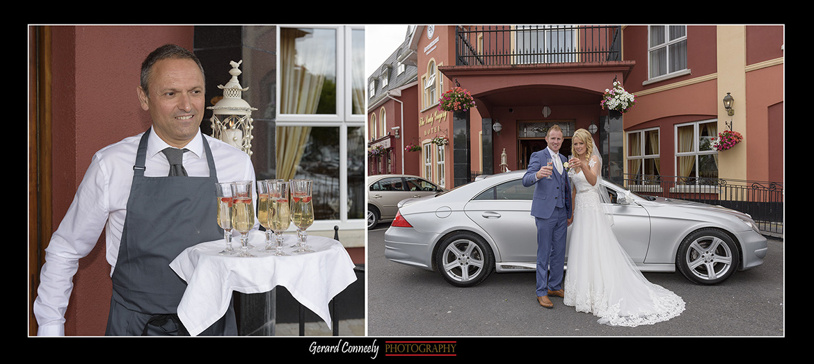 bride and groom outside the lady gregory hotel gort by gerard conneely photography photo