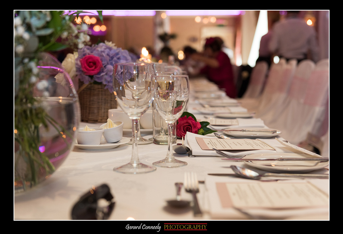 wedding setting at the lady gregory hotel gort