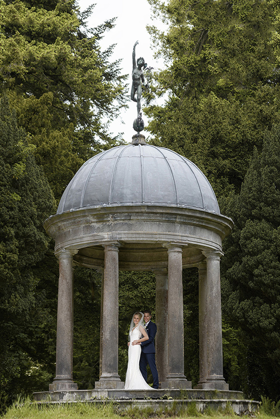 Dromoland Castle wedding day bride and groom at the temple of mercury
