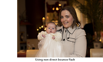 Using bounce flash to get correct exposure