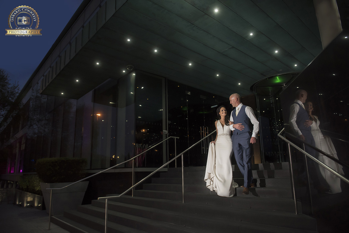 wedding photography of bride and groom on wedding day at the G hotel Galway
