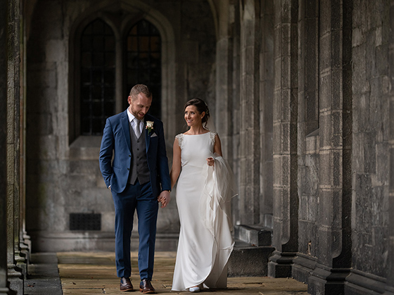 where to take wedding photos of a wet or rainy day in Galway - nuig quad