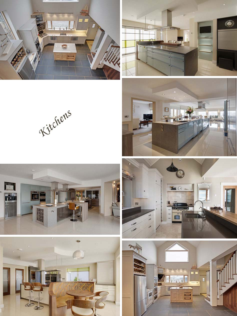 Various kitchens in Galway photographed with natural and additional lighting