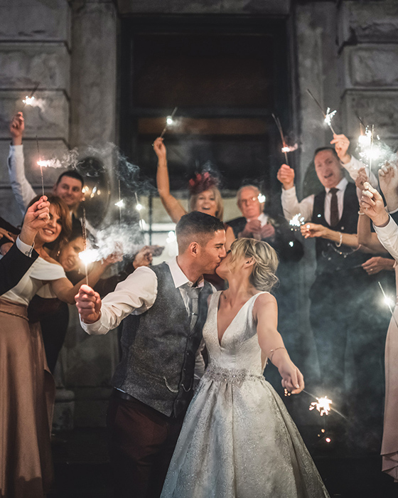 Sparklers photography of bride and groom at the Meyrick hotel in Galway